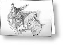 Mini Donkey Mom And Baby Greeting Card
