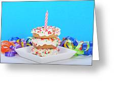 Mini Donut Cake With  Blue Candle By Sheila Fitzgerald Mini Donut Cake With Pink Candle Greeting Card