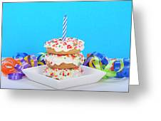 Mini Donut Cake With  Blue Candle Greeting Card