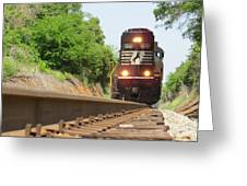 Mini Train Moves Down The Track Greeting Card