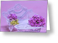 Miniature Table And Chair Set With Kalanchoe Greeting Card