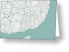 Minimalist Artistic Map Of Lisbon, Portugal 3 Greeting Card