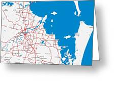 Minimalist Modern Map Of Brisbane, Australia 6 Greeting Card