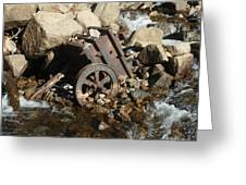 Mining Cart Boulder Falls Greeting Card