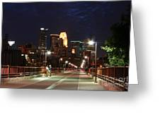 Minneapolis From The Stone Arch Bridge Greeting Card