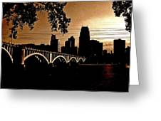 Minneapolis Skyline In Copper Greeting Card