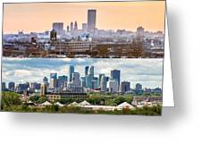 Minneapolis Skylines - Old And New Greeting Card by Mike Evangelist