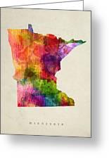 Minnesota State Map 02 Greeting Card
