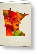 Minnesota State Map 04 Greeting Card