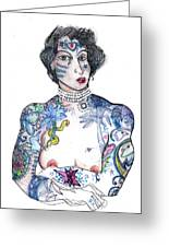 Minnie - An Homage To Maud Wagner, Tattoos  Greeting Card