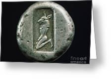 Minotaur On A Greek Coin Greeting Card