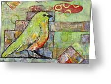 Mint Green Bird Art Greeting Card by Blenda Studio