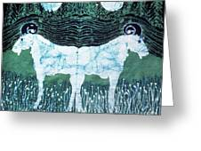 Mirror Image Goats In Moonlight Greeting Card by Carol Law Conklin