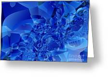Mirrored Waves In Blue Greeting Card