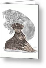 Mischief ... Moi? - Doberman Pinscher Puppy - Color Tinted Greeting Card