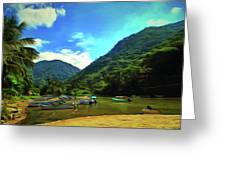 Mismaloya River Fishing Boats 0344 Greeting Card