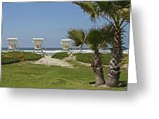 Mission Beach Shelters Greeting Card