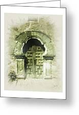 Mission Espada Chapel Door Greeting Card