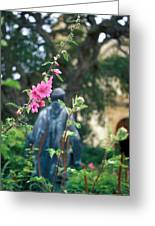 Mission Statue And Flower Greeting Card