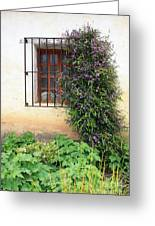 Mission Window With Purple Flowers Vertical Greeting Card