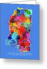 Mississippi Map Color Splatter 3 Greeting Card