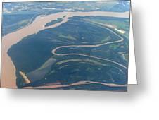 Mississippi River Aerial Shot Greeting Card