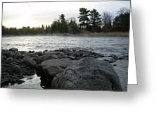 Mississippi River Dawn Over The Rocks Greeting Card