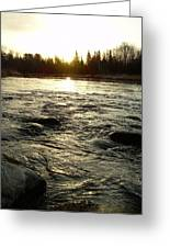 Mississippi River Dawn Reflection Greeting Card