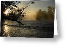 Mississippi River Foggy June Sunrise Greeting Card