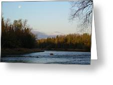 Mississippi River Moon At Dawn Greeting Card
