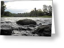 Mississippi River Rocks At Dawn Greeting Card