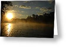 Mississippi River Sunrise Fog Greeting Card