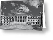 Mississippi State Capitol Bw Greeting Card