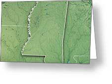 Mississippi State Usa 3d Render Topographic Map Border Greeting Card