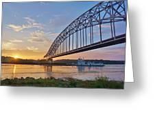 Mississippi Sunrise Crossing Greeting Card