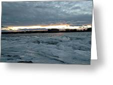 Missouri River Ice Sheet Sunset Greeting Card