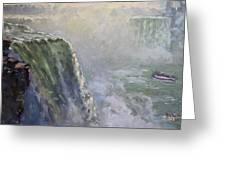 Mist At Horseshoe Falls  Greeting Card
