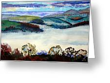 Mist In The Exe Valley In Exeter Devon Greeting Card