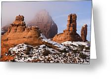 Mist Rising In Arches National Park Greeting Card