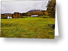 Misty Autumn At The Farm Greeting Card