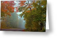 Misty Autumn Road Greeting Card