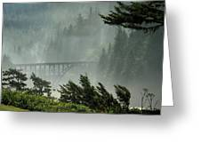 Misty Bridge At Heceta Head Greeting Card