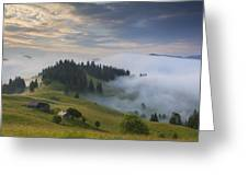 Misty Dawn In The Mountains Greeting Card