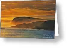 Misty Island Sunset Greeting Card