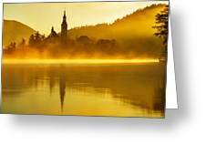 Misty Lake Bled At Sunrise Greeting Card