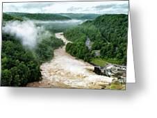 Misty Morning At Summersville Lake Dam Greeting Card
