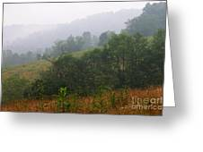 Misty Morning On The Farm Greeting Card