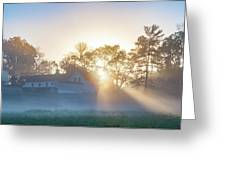Misty Morning Sunrise - Valley Forge Greeting Card