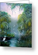 Misty Morning Swamp Greeting Card