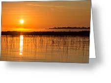 Misty Orange Sunrise On Boy Lake Greeting Card
